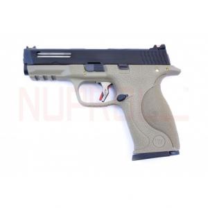Pistola E Force Big Bird FDE Vented bk slide/silver barrel WE