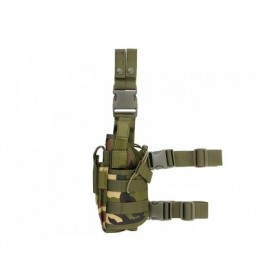 Tactical Drop Leg Holster Left-Handed w mag pouch woodland [8Fields]