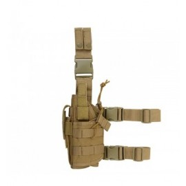 Tactical Drop Leg Holster Left-Handed w mag pouch tan [8Fields]