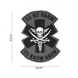 Patch 3D PVC Do no harm grey/bk
