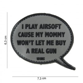 Patch 3D PVC I Play Airsoft grey