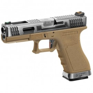 Pistola G18C Custom Silver Barrel Metal Version GBB tan [WE]
